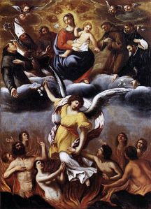 """""""An Angel Frees the Souls of Purgatory"""" by Carracci"""
